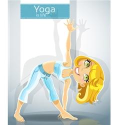 Blond girl in yoga pose Trikonasana Utthita Bonus vector image