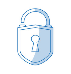 Blue shading silhouette cartoon padlock with vector