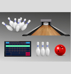 Bowling realistic icon set vector
