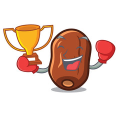 Boxing winner dates fruit mascot cartoon vector