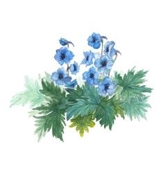 Bush blue anemones vector image