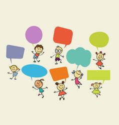 Cartoon children with speech bubbles vector