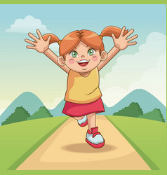 children day happy cute little girl on the meadow vector image