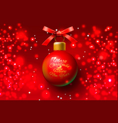 christmas greeting card design xmas ball red vector image