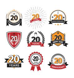 collection of retro twenty years anniversary logo vector image