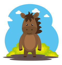 Cute horse in the field landscape character vector