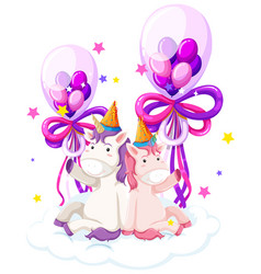Cute unicorn holding birthday balloon vector