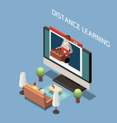 Distance learning isometric design concept vector