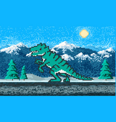 fire dinosaur and mountain landscape game concept vector image