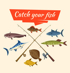 Fish catch and fisher tackle and rods vector