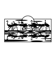 Flamingo wildlife wildlife stencils - forest vector