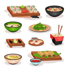Flat set of tasty asian food sushi soups vector