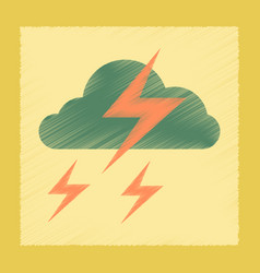 flat shading style icon lightning cloud vector image