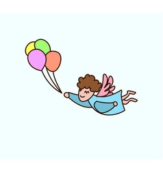 Flying cartoon angel with balloons in hand vector