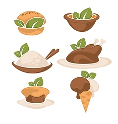 food and leaves vector image