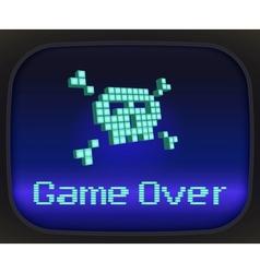 Game over tv skull and crossbones vector