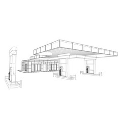 Gas station rendering 3d vector
