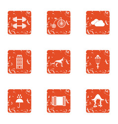 German care icons set grunge style vector