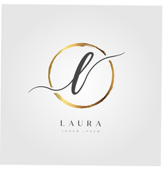 Gold elegant initial letter type l vector