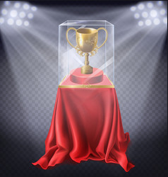 golden cup in showcase museum exhibit vector image