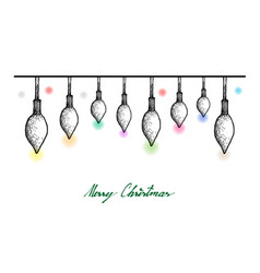 hand drawn of lovely christmas lights hanging on vector image