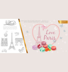 hand drawn romantic paris concept vector image