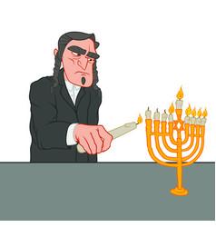 Hanukkah lighting the menorah jewish man with vector