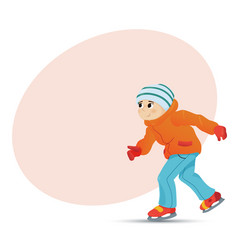 happy boy ice skating in winter place for text vector image