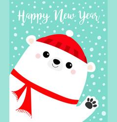 Happy new year white polar bear waving hand paw vector