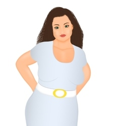 Happy overweight woman vector image