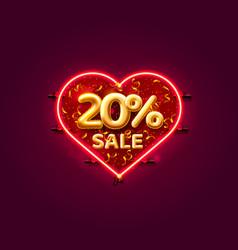 Heart sale 20 off ballon number on white vector