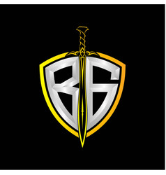 Initials b g is a shield decorated vector