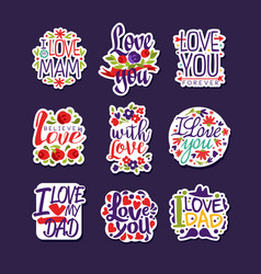 inscriptions about love set design templates for vector image