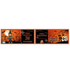 Invitation tickets for the halloween night party vector