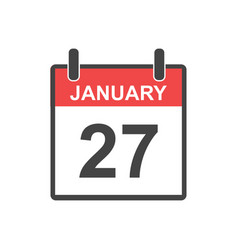 january 27 calendar icon in flat style vector image