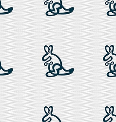 Kangaroo icon sign seamless pattern with geometric vector