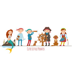 kids dressed as pirates captain and mermaid vector image