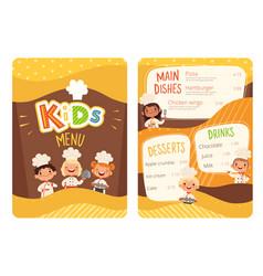 kids menu children cooking food little chef vector image