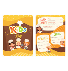 kids menu childrens cooking food little chef vector image