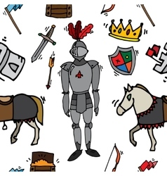 Knight icons pattern vector image