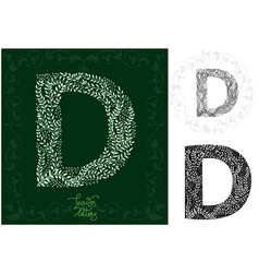 leaves alphabet letter d vector image