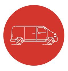 line art style minivan car icon vector image