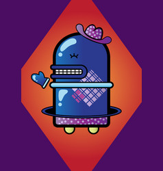 little blue robot vector image