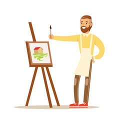 man artist holding palette and brush standing near vector image