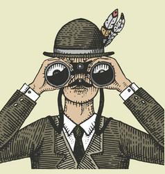Man in costume looking through the binoculars vector