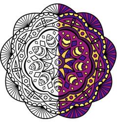 mandala is painted in half vector image