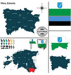 Map of voru estonia vector