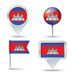 Map pins with flag of Cambodia vector