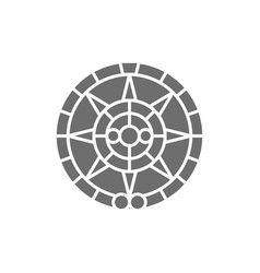 Mayan calendar mexican ethnic ornament grey icon vector
