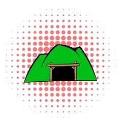 Mountain mine icon comics style vector image